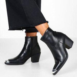 Black Metal Toe Block Heel Western Boots   boohoo